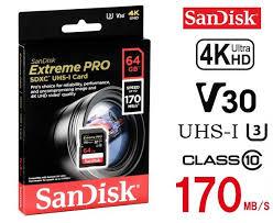 Κάρτα SD 64GB Cl10 170MB/s SANDISK Extreme PRO SDSDXXY-064G-GN4IN image