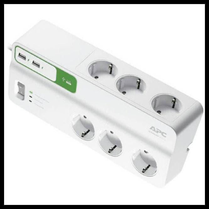 Πολύπριζο Ασφαλείας 2,0m 6 Outlets,2*USB 2.4A APC SurgeArrest White PM6U-GR image