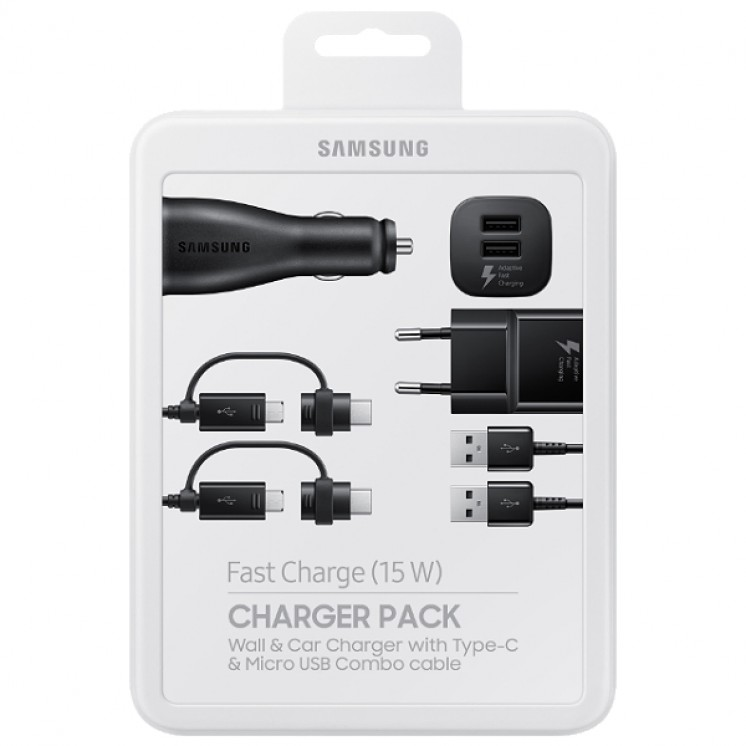 Charger Pack (Fast Charge) Samsung Αντάπτορας+Φορτιστής Αυτοκινήτου TYPE C+MICRO USB EP-U3100WBE image