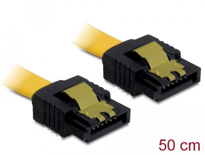 Καλώδιο SATA III 7-pin σε 7-pin, Metal Clip, 0.5m 82477 Yellow Delock image