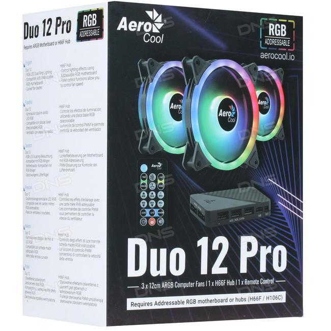 Ανεμιστήρας DUO 12 Pro RGB 3in1 +Remote+HUB Aerocool  image