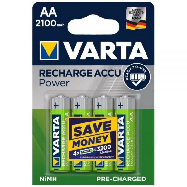 4x Rechargeable Accu AA Pre-Charged NiMH 2100 mAh Mignon 56706 Varta  image