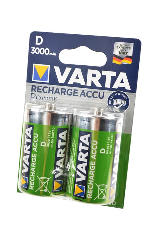 2x Rechargeable Accu D HR20 Pre-Charged NiMH 3000mAh 56720 Varta  image