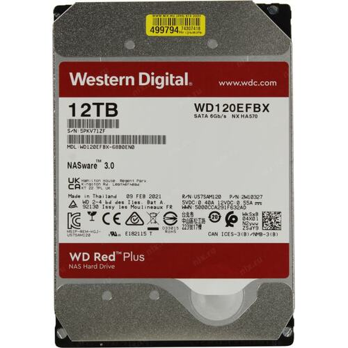 "HDD Western Digital Red Pro NAS 3.5"" 12TB 256mb WD120EFBX image"