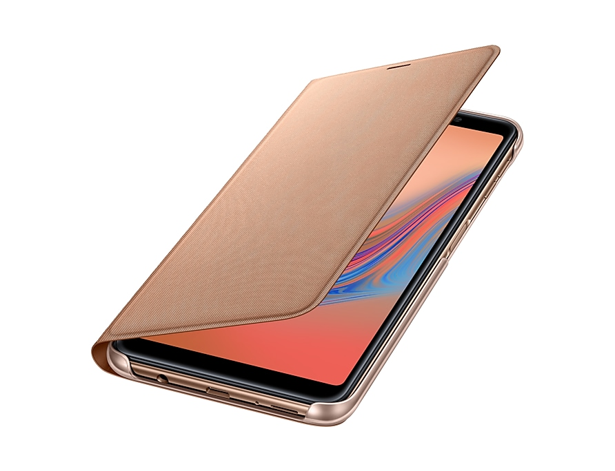 "Samsung Galaxy A7 2018 6"" Flip Wallet Original Gold EF-WA750PFE"