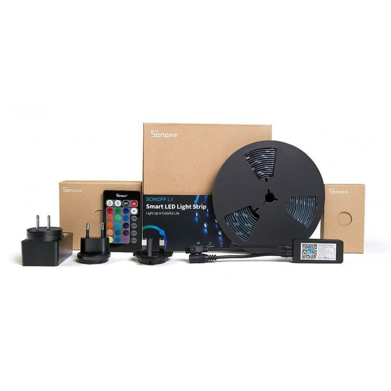 Αδιάβροχη Ταινία LED RGB 5m με Τροφοδοτικό και Τηλεχειριστήριο SMD5050 12V SNF-L1-5M Sonoff