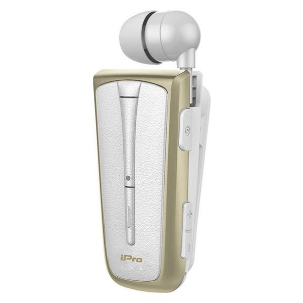 Bluetooth Headset iPro RH219s Restractable με δόνηση Λευκό-Χρυσό image