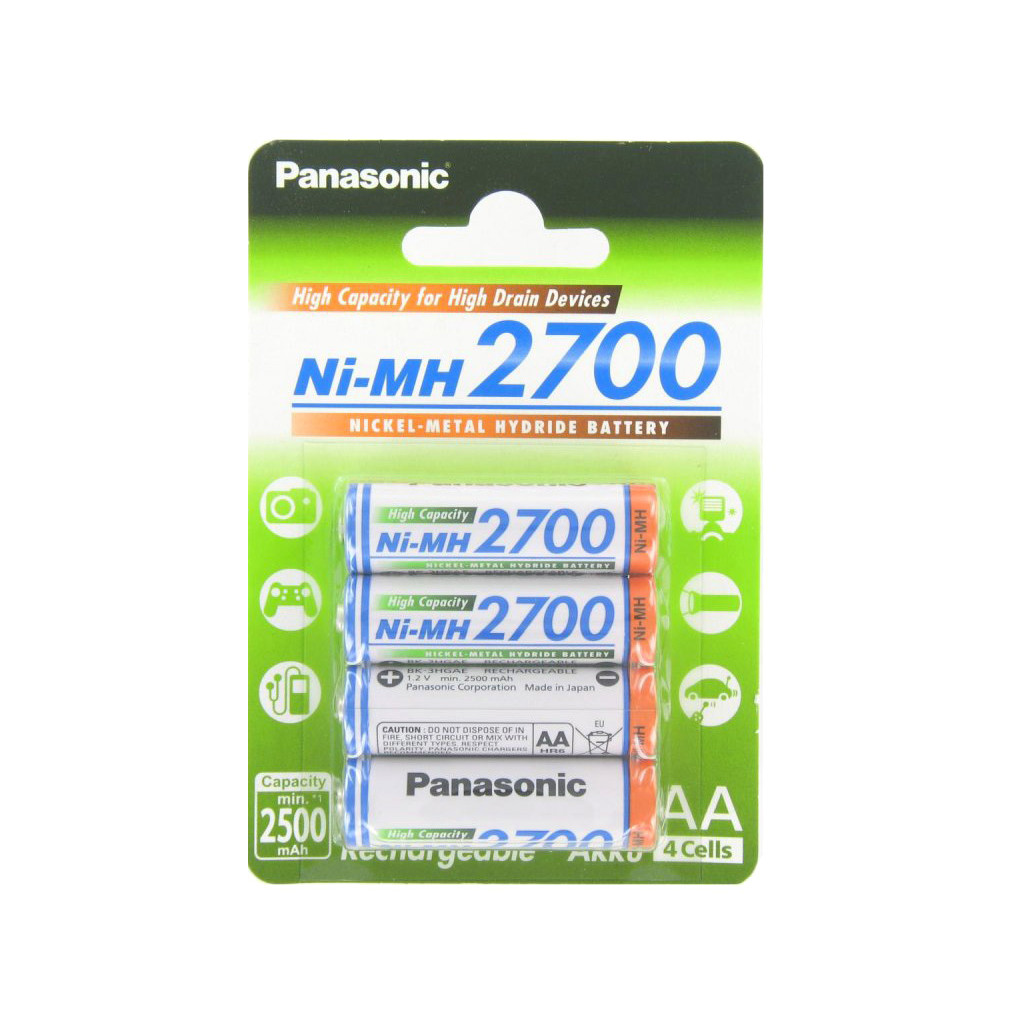 High Capacity 4x HR6/AA 2700mAh BK-3HGAE/4BE Panasonic image