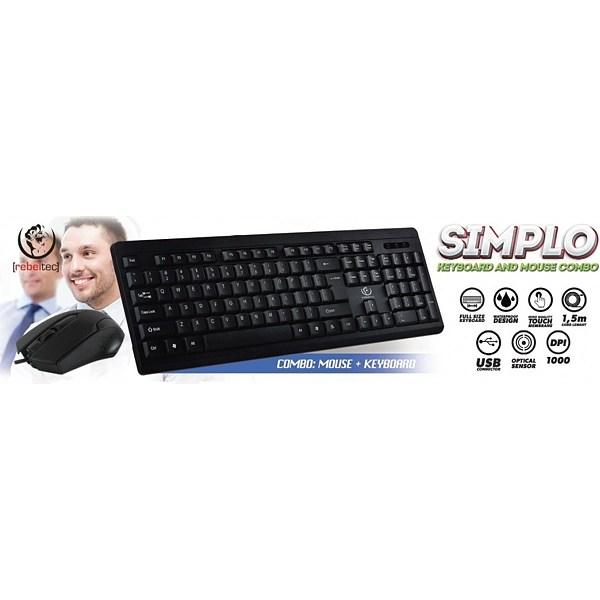 Ασύρματο Πληκτρολόγιο Rebeltec Simplo + Ασύρματο Ποντίκι Black image