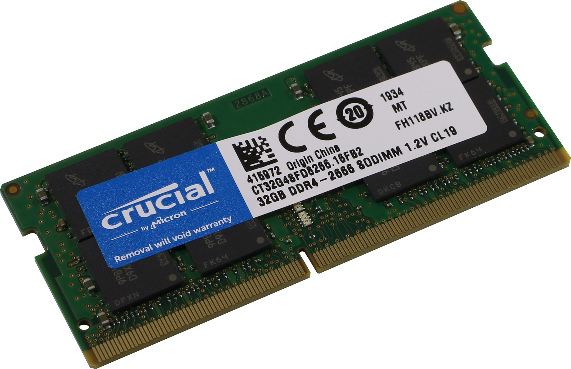 Crucial By Micron 32GB Ram DDR4 1.2V Για Φορητό 2666MHz CL19 CT32G4SFD8266 image