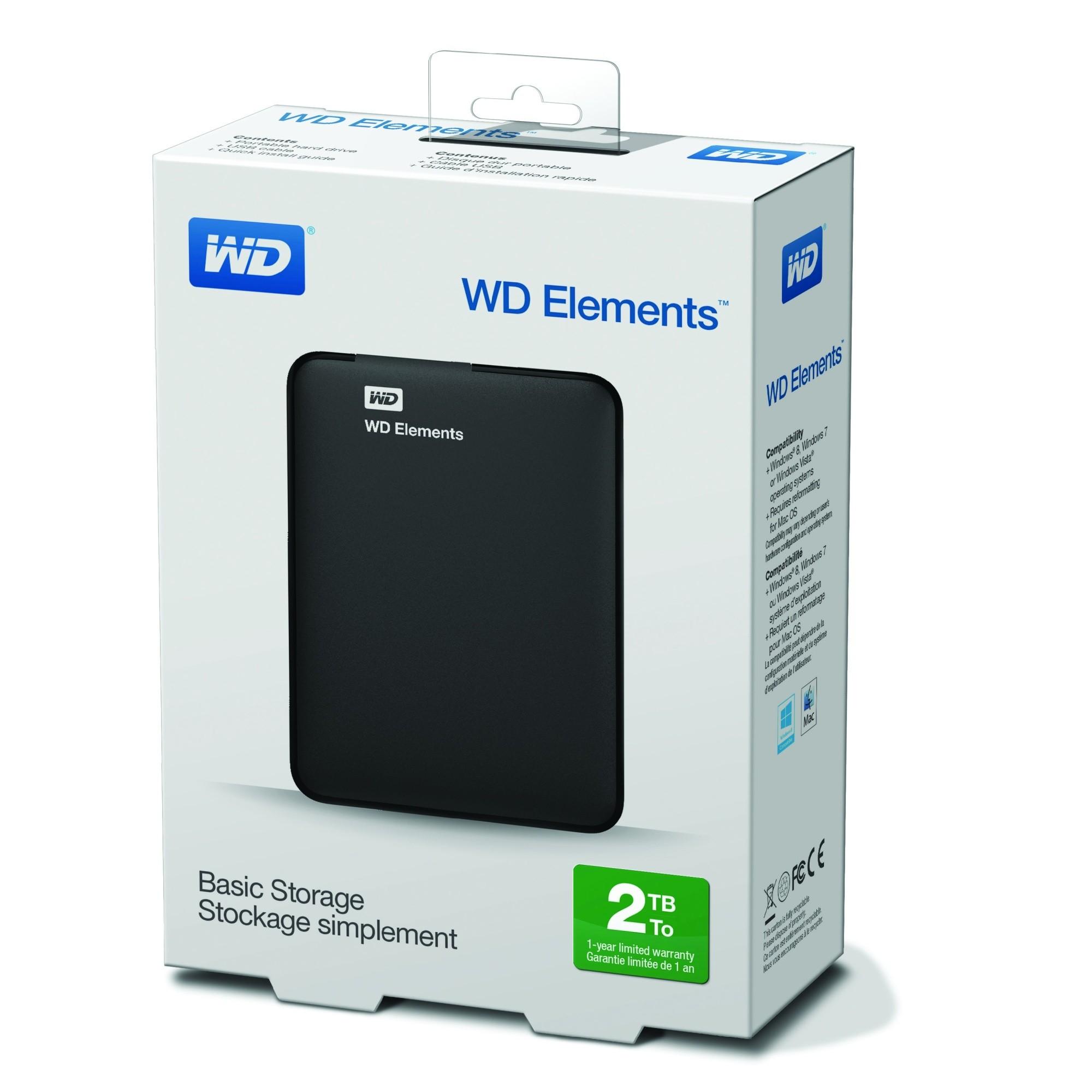 """Εξωτερικός Σκληρός Western Digital Elements 2TB USB 3.0 2.5"""" WDBU6Y0020BBK image"""