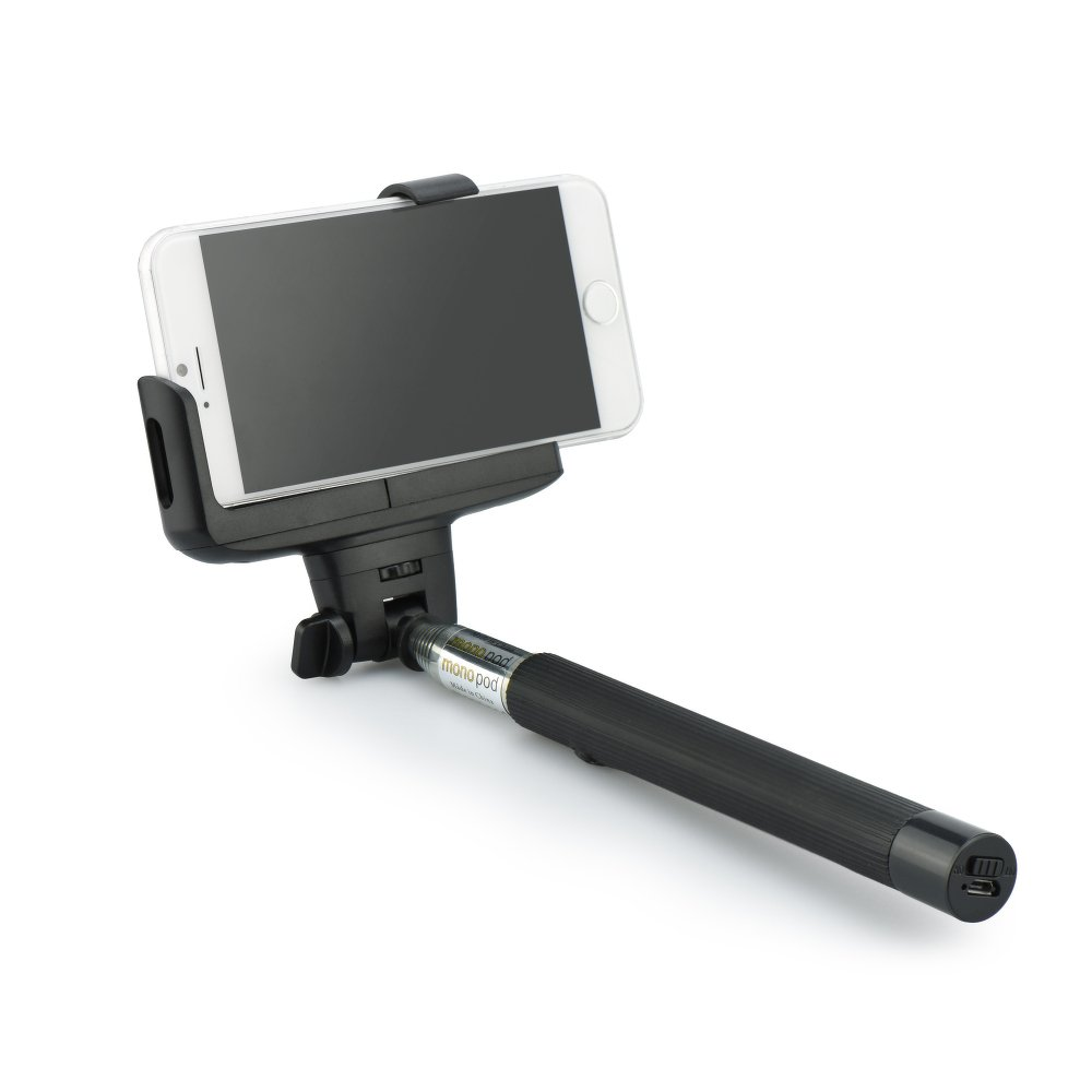 Selfie Stick Monopod Bluetooth Wireless Button on Grip Black