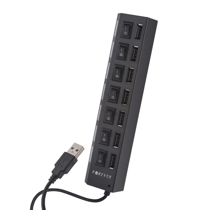 USB Hub 7 Port USB 2.0 Με Διακόπτες On/Off Black Forever image