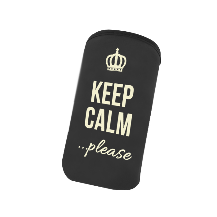 Universal Πουγγί Pouch Velvet Samsung Galaxy Note 3, Note 4 Keep Calm Please Black image
