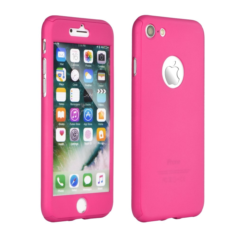 """iPhone 7 4.7"""",iPhone 8 Full Body 360 Hard Case+Tempered Glass Pink image"""