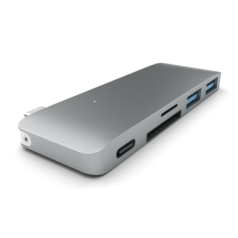 USB Passthrough Hub Type C For Macbook Satechi Aluminium Space Gray ST-TCUPM image