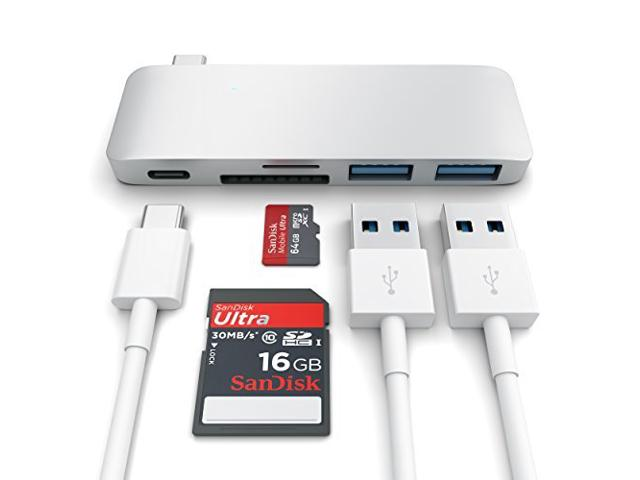 USB Passthrough Hub Type C For Macbook Satechi Aluminium Silver ST-TCUPS image