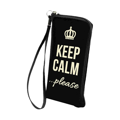 Universal Pouch Velvet Με Φερμουάρ Samsung Galaxy Note 2, Note 3, Note 4 Keep Calm Black image
