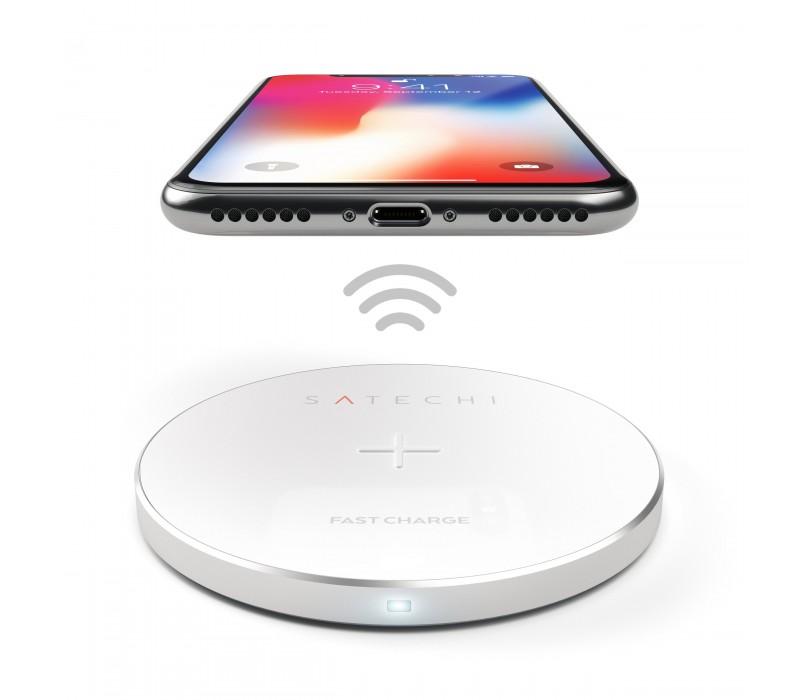 Ασύρματος φορτιστής (FAST CHARGING) Satechi iPhone X, Samsung Galaxy Note Silver ST-WCPS image