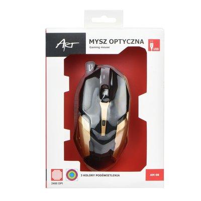 Ενσύρματο Laser Gaming Ποντίκι 2400DPI ART AM-98 Black/Gold