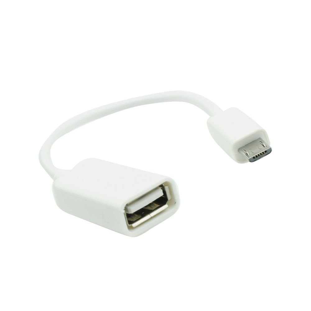 OTG Cable Micro USB B Male to USB A Female White image