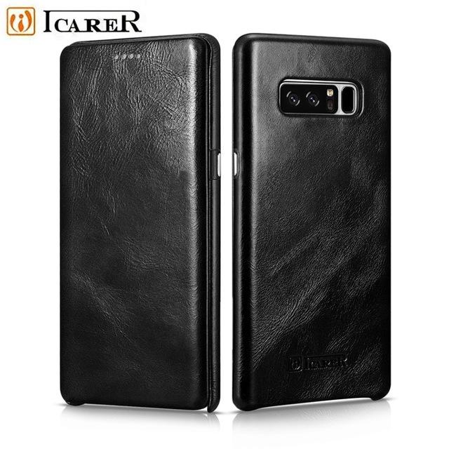 Samsung Galaxy Note 8 Genuine Leather Flip Case Icarer Vintage Black 99835651 image