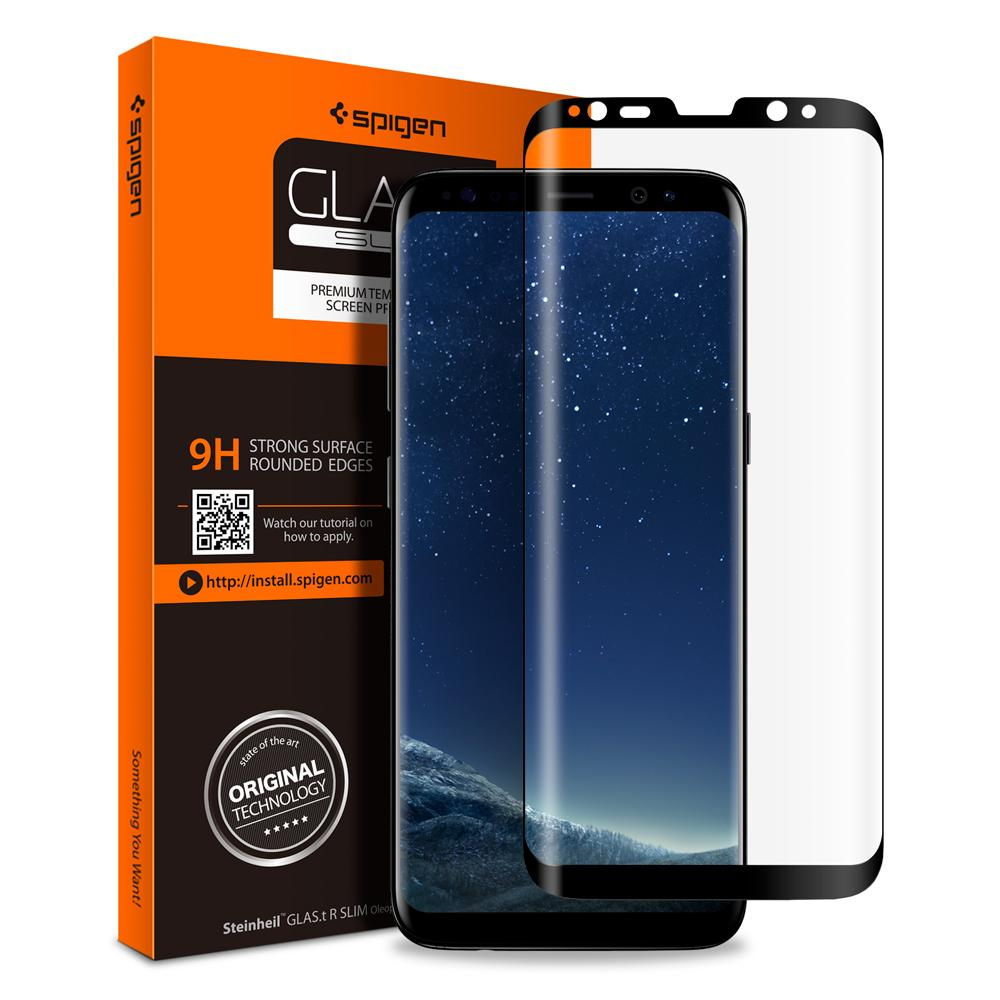 "Samsung Galaxy S8 Plus 6,2"" Tempered Glas.tR Curved (Full Cover) Spigen 9H Black 571GL21778 image"