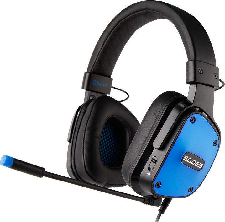 Gaming Ακουστικά Κεφαλής Sades Dpower Blue SA-722BL PS4, PC, XBOX image