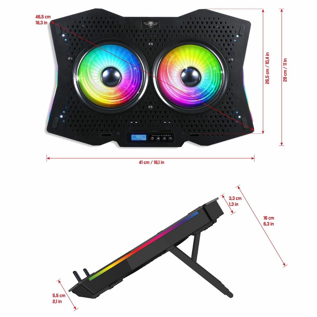 """Βάση Στήριξης Laptop Έως 17"""" Με 2 Ανεμιστήρες RGB SOG Airblade 1000 image"""