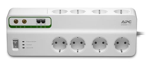 Πολύπριζο Ασφαλείας 3m Cord, 8 Outlets, Coax & Telephone Cable APC SurgeArrest White PMF83VT-GR image