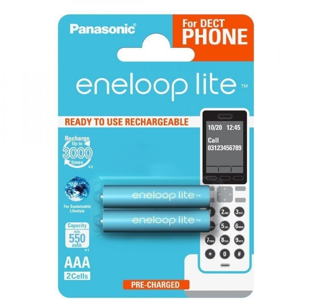 Eneloop Lite DECT PHONE 2x HR03/AAA 550mAh BK-4LCCE/2DE Panasonic image
