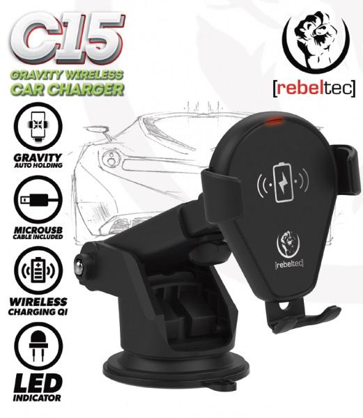 Universal Car Holder 6.9cm-9.5cm C15 Rebeltec WIRELESS Black image