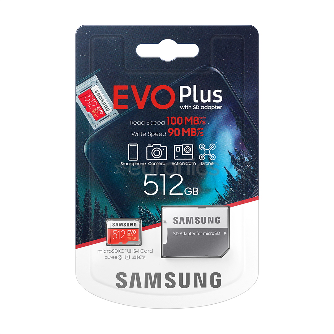 MicroSD 512GB EVO Plus 4K Class 10 UHS-I With Adapter MB-MC512HA/EU image