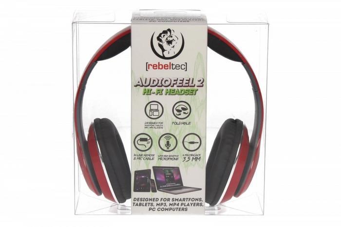 """Ακουστικά Κεφαλής 3.5"""" Audiofeel 2 Rebeltec PC, Smartphones, Tablets, MP4 Red image"""