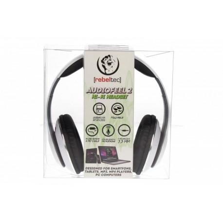 """Ακουστικά Κεφαλής 3.5"""" Audiofeel 2 Rebeltec PC, Smartphones, Tablets, MP4 White image"""