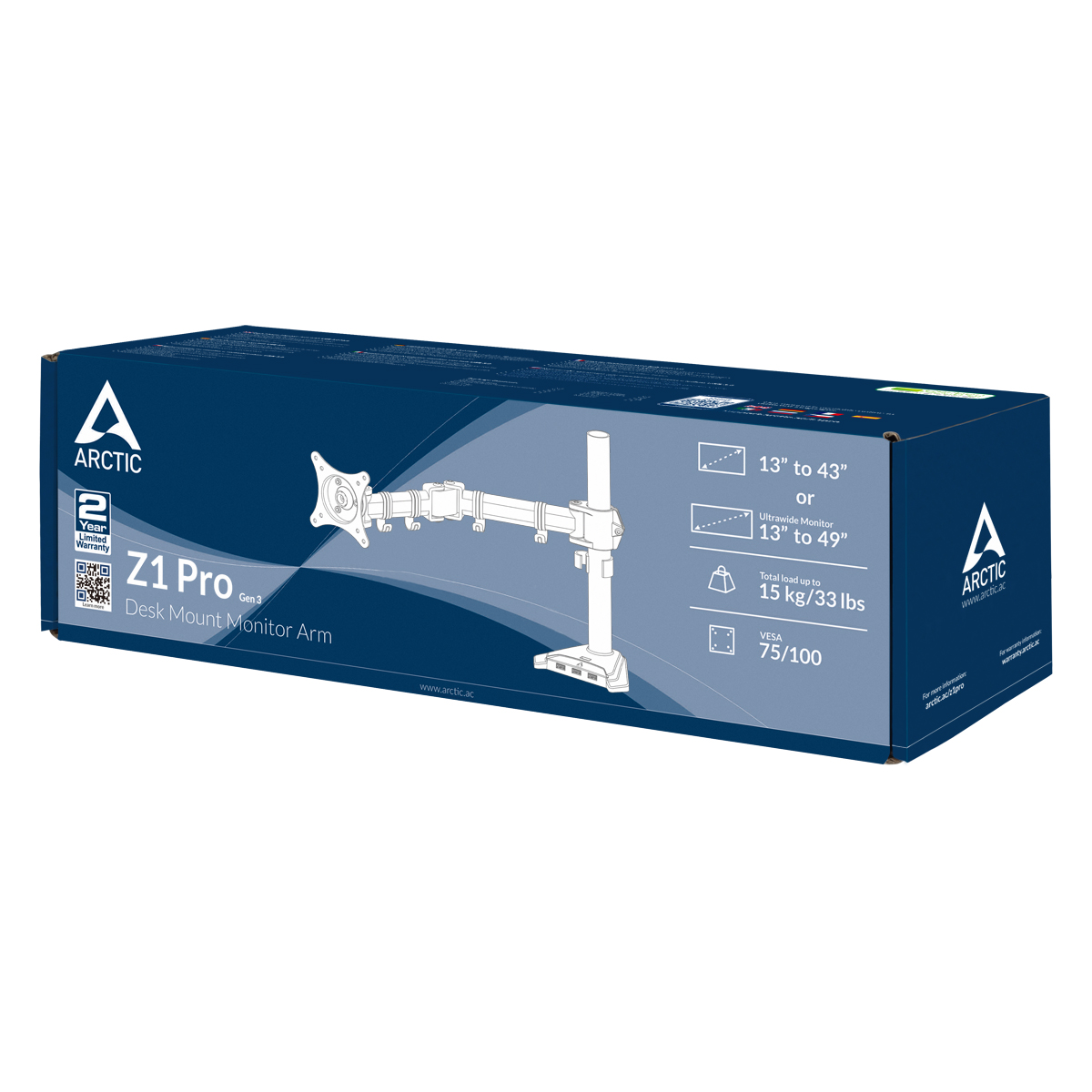 """Βάση Οθόνης Desk Mount Monitor Arm Z1 Pro Gen3 USB x4 Έως 34"""" Εως 15kg AEMNT00049A image"""