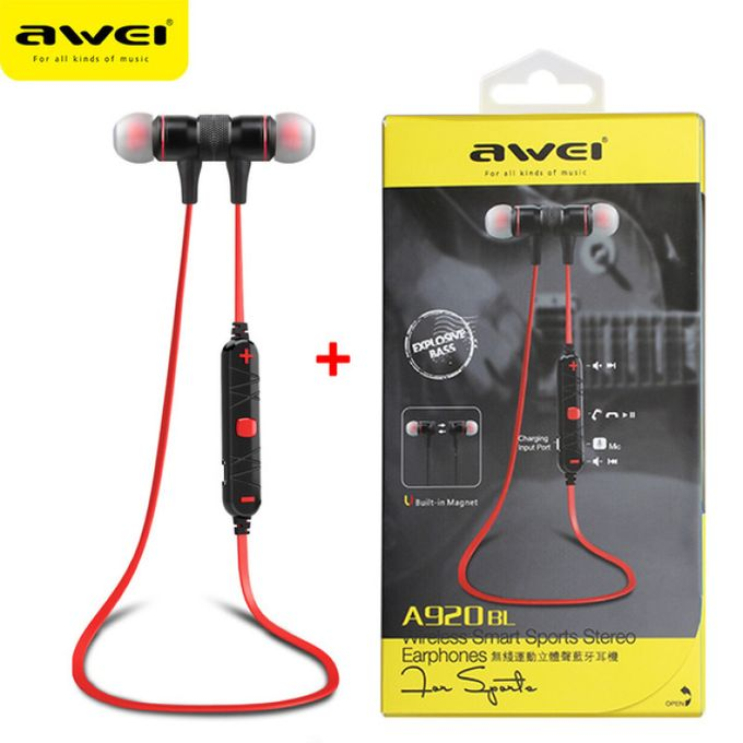 Bluetooth Stereo Awei A920BL Wireless Smart Sports RED Headphones  image